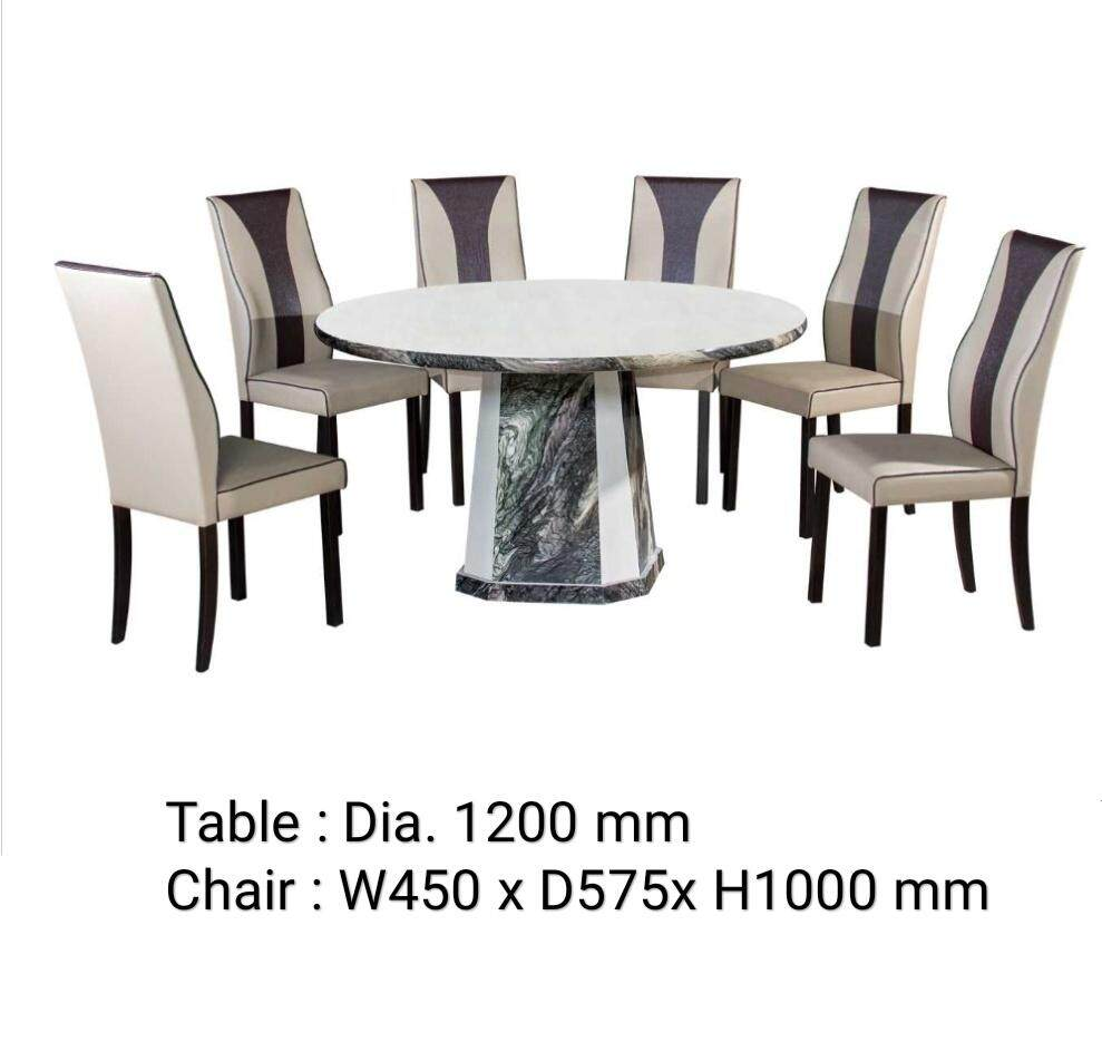 Q 10 1 6 Marble Dining Set 6 Seater Marble Dining Table Set Marble Dining Table With 6 Chairs Marble Dining Set Round Table Marble Dining Set Wht6978 Lazada