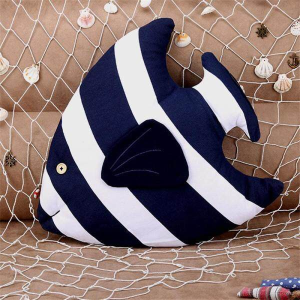 Mediterranean Style Striped Fish Shaped Cushion Creative Cotton Linen Pillow For Home Sofa Car Decoration Kids Toy 44x39x10cm