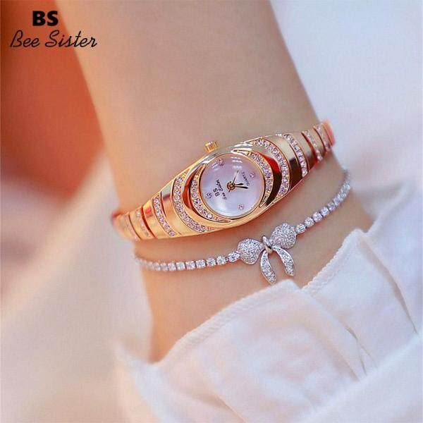 BS Bee Sister Brand Hot Sale Fashion Womens Watches Elegant Stainless Steel Alloy Strap Waterproof Quartz Oval Shape Watches Ladies Rhinestone Luxury Wristwatches FA1540 Malaysia