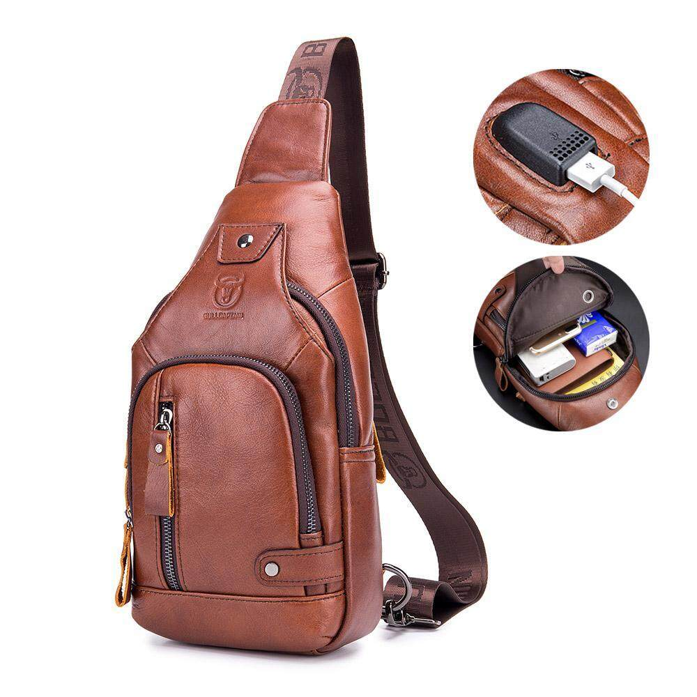 GoodGreat 100% Genuine Leather Crossbody Bags Men Chest Bags USB Charging Sling Bags Lightweight Daypacks Casual Backpacks Leather Messenger Bags Travel Shoulder Bags For Travel,Cycling