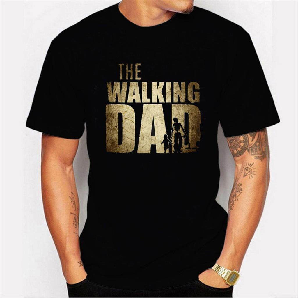 1092431b13a Mobilone Men's Casual Printed Elastic Short Sleeve The Walking Dad T-shirts  Blouse Tops