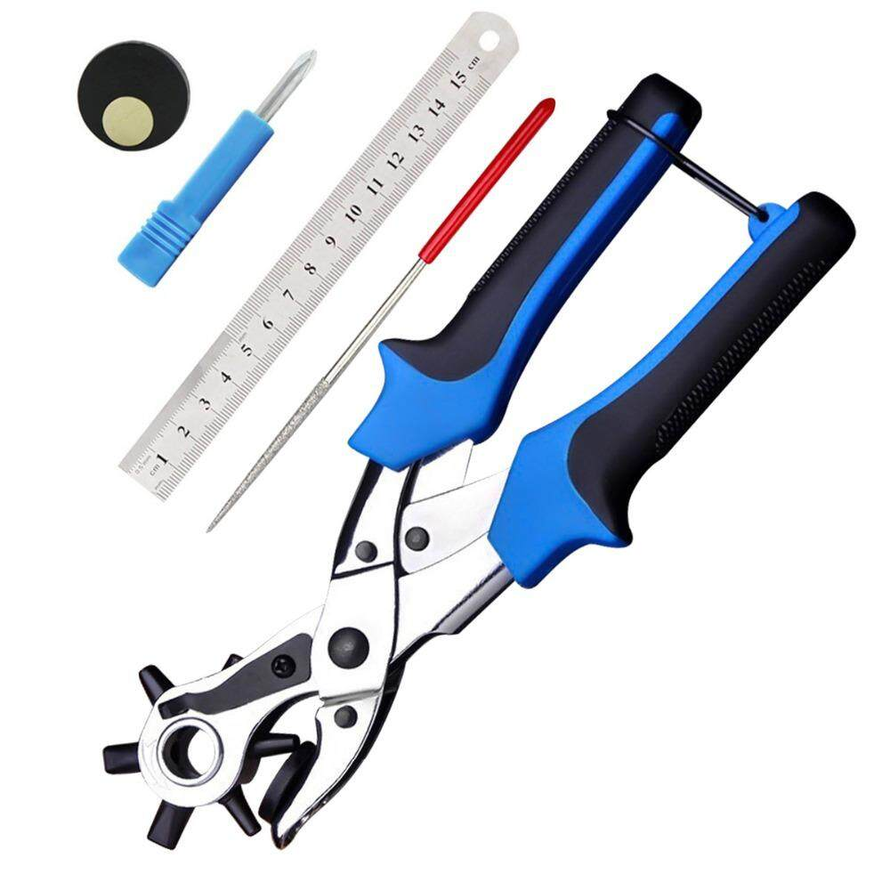 Multifunctional Belt Hole Puncher with 6 Holes Leather Hole Punch for Leather Belts Cards Paper Fabric