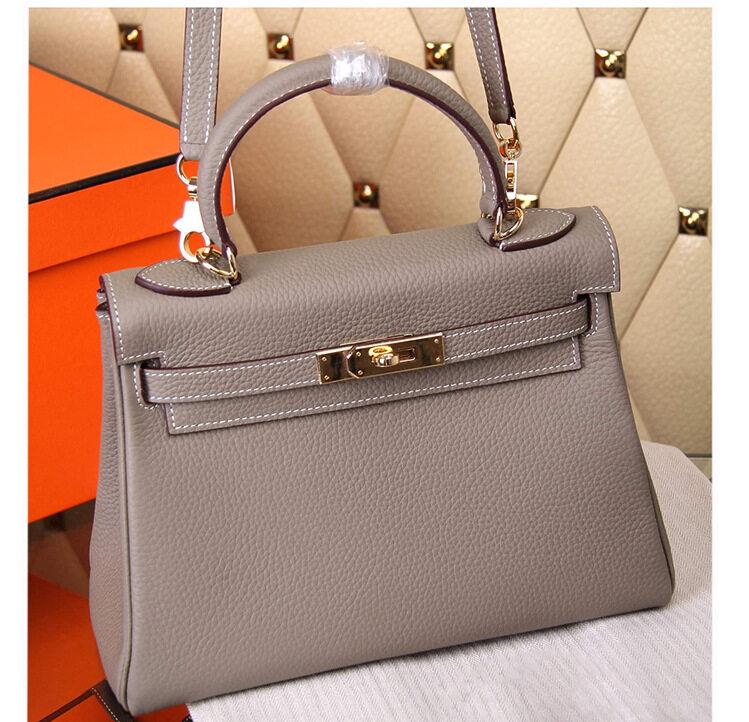 Classic Lychee Pattern Seam Kelly Bag Leather Women Bag Leather Shoulder Messenger Bag