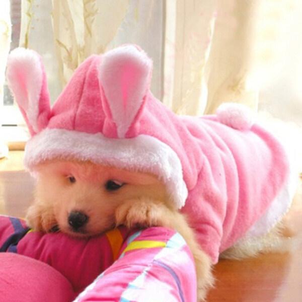 Huanhuang®Dễ Thương Hình Con Thỏ Trang Phục Chó Áo Hoodie Lông Cừu Áo Quần Áo Cho Chó Phụ Kiện Cho Thú Cưng