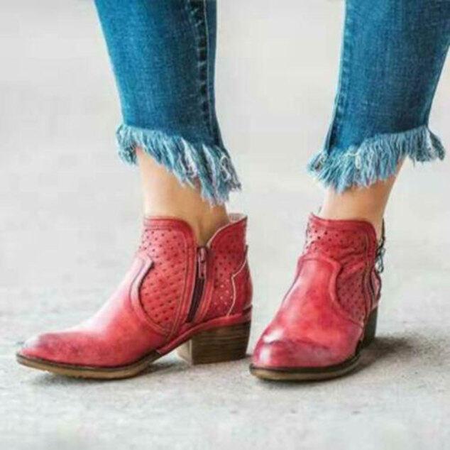 Giày Cao Đến Mắt Cá Chân Cho Nữ, Giày Da Du Lịch Có Khóa Kéo Bên Gót Thấp giá rẻ