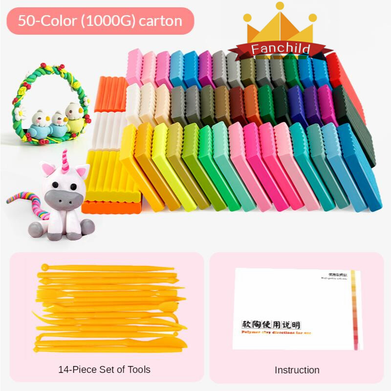 50 Colors * 20G Polymer Oven Bake Modeling Fimo Clay Carton With Tools DIY Toy For Kids