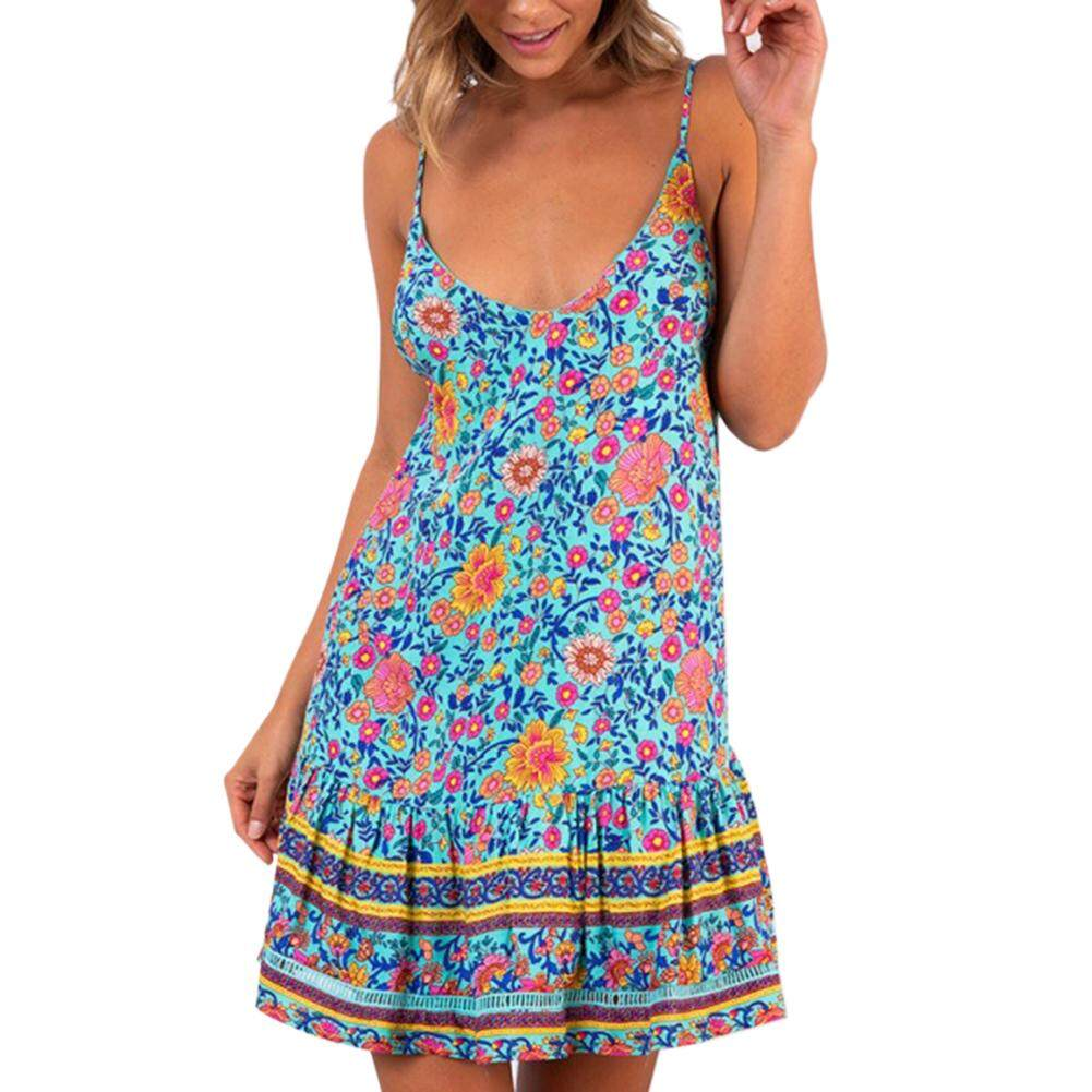 e8d367a225 [Yulikeit] Women Spaghetti Strap Backless Beach Short Dress Bohemian  Vintage Floral Printed Ethnic Style