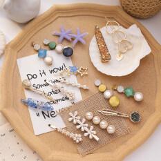 8 Cái/bộ Cô Gái Ngọc Trai Acetate Hình Học Hairpins Phụ Kiện Tóc Tóc Clip Set Barrettes