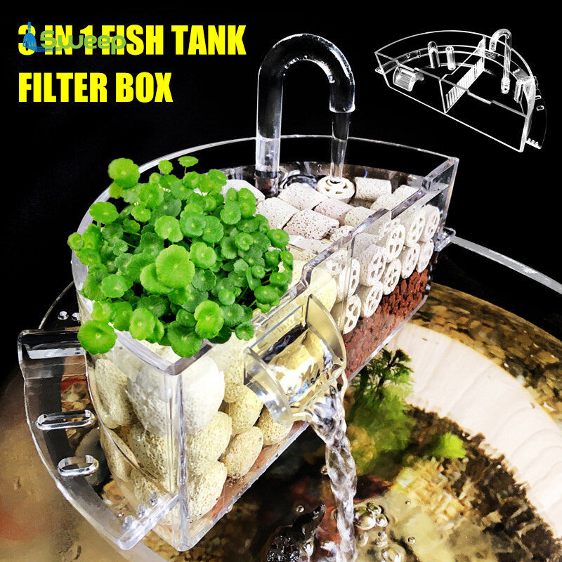 Bể Cá Bộ Lọc Bên Ngoài Hộp Máy Lọc Nước Treo Bên Ngoài Acrylic Cho Phụ Kiện Bể Cá Tròn