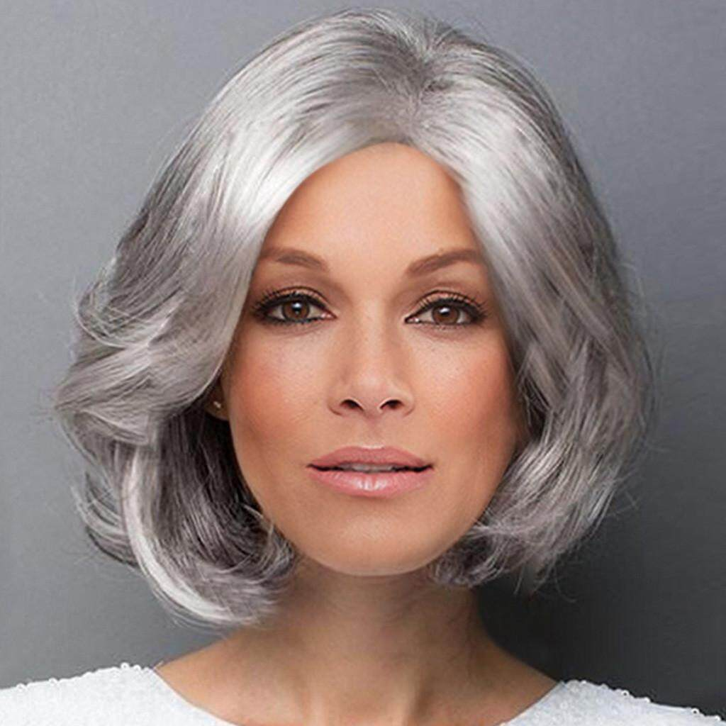 Dyerstore-Fashion Wanita Sexy Berponi Penuh Wig Wig Pendek Gelombang Wig Styling Keren Wig Cosplay
