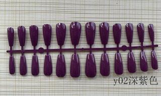 (Có keo thạch) Móng tay dài vừa phải sơn dầu màu tinh khiết đánh bóng hình bậc thang Móng tay giả sọc dài móng tay ba lê thumbnail