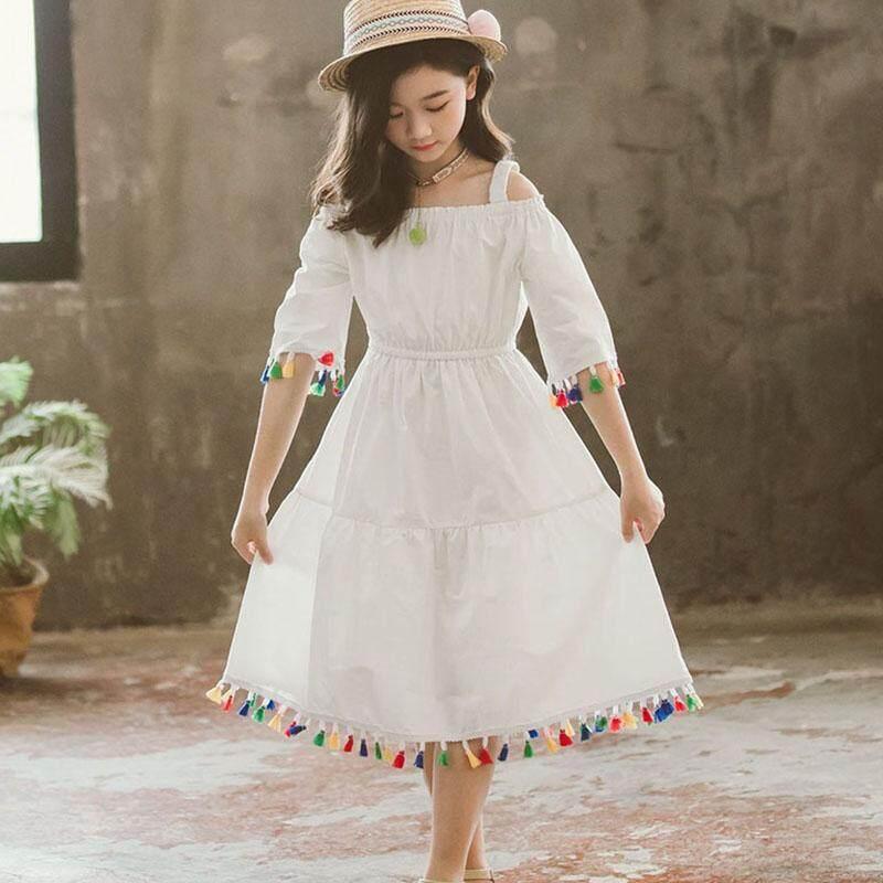 Giá bán Tihe Các Bạn Nữ Tuổi Teen Đầm Trẻ Em Chính Thức Mặc Đầm Công Chúa Bé Gái 100% Cotton Bãi Biển Mùa Hè Áo Ma