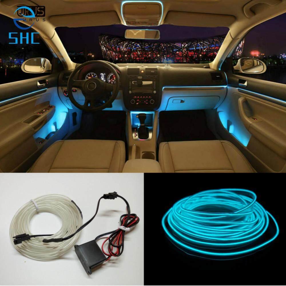 SHC 5 M 10 Warna Mobil Bergaya Swakriya EL Dingin Line Fleksibel Dekorasi Interior Strip Pemotong Bentuk Lampu untuk Sepeda Motor dan Mobil (Kristal biru)