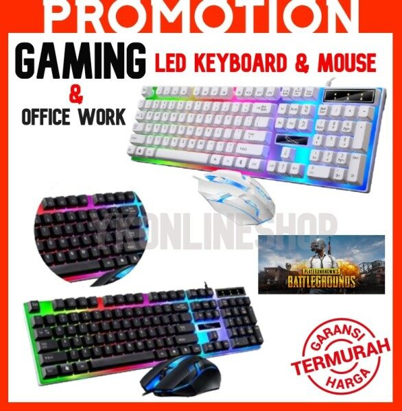 ~Ship From KL~ G21B Keyboard Mouse Set Rainbow-Color Backlight Set Keyboard dan Tetikus Gaming Gaming Keyboard Set Malaysia