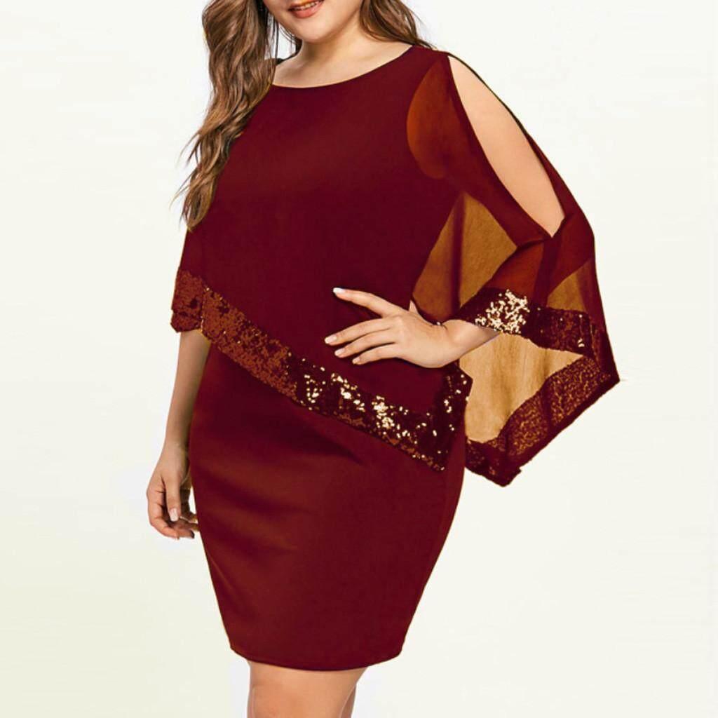 b136d7620d Free Shipping Women Plus Size Cold Shoulder Overlay Asymmetric Chiffon  Strapless Sequins Dress