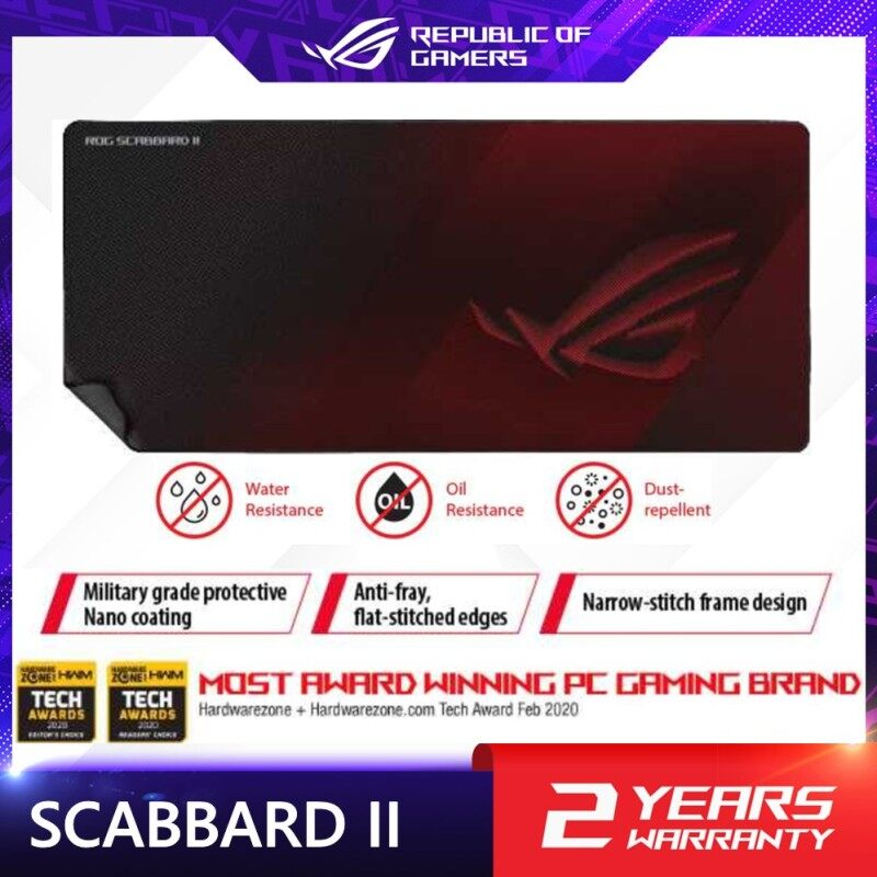ROG Scabbard II extended gaming mouse pad with protective nano coating for a water-, oil-and dust-repellant surface, with anti-fray, flat-stitched edges and a non-slip rubber base Malaysia