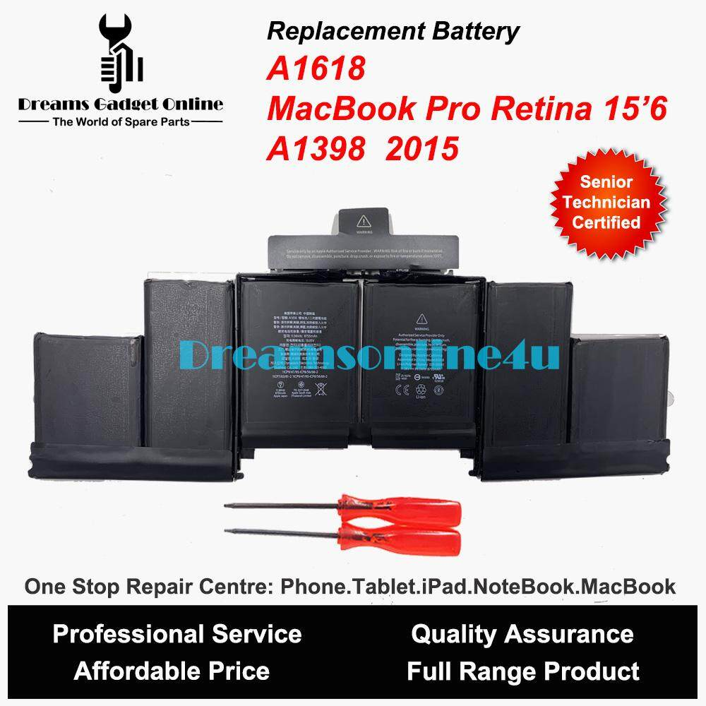 Replacement APPLE MacBook Pro Retina 15.6 A1398 2015 A1618 Battery 8755 mAh Malaysia