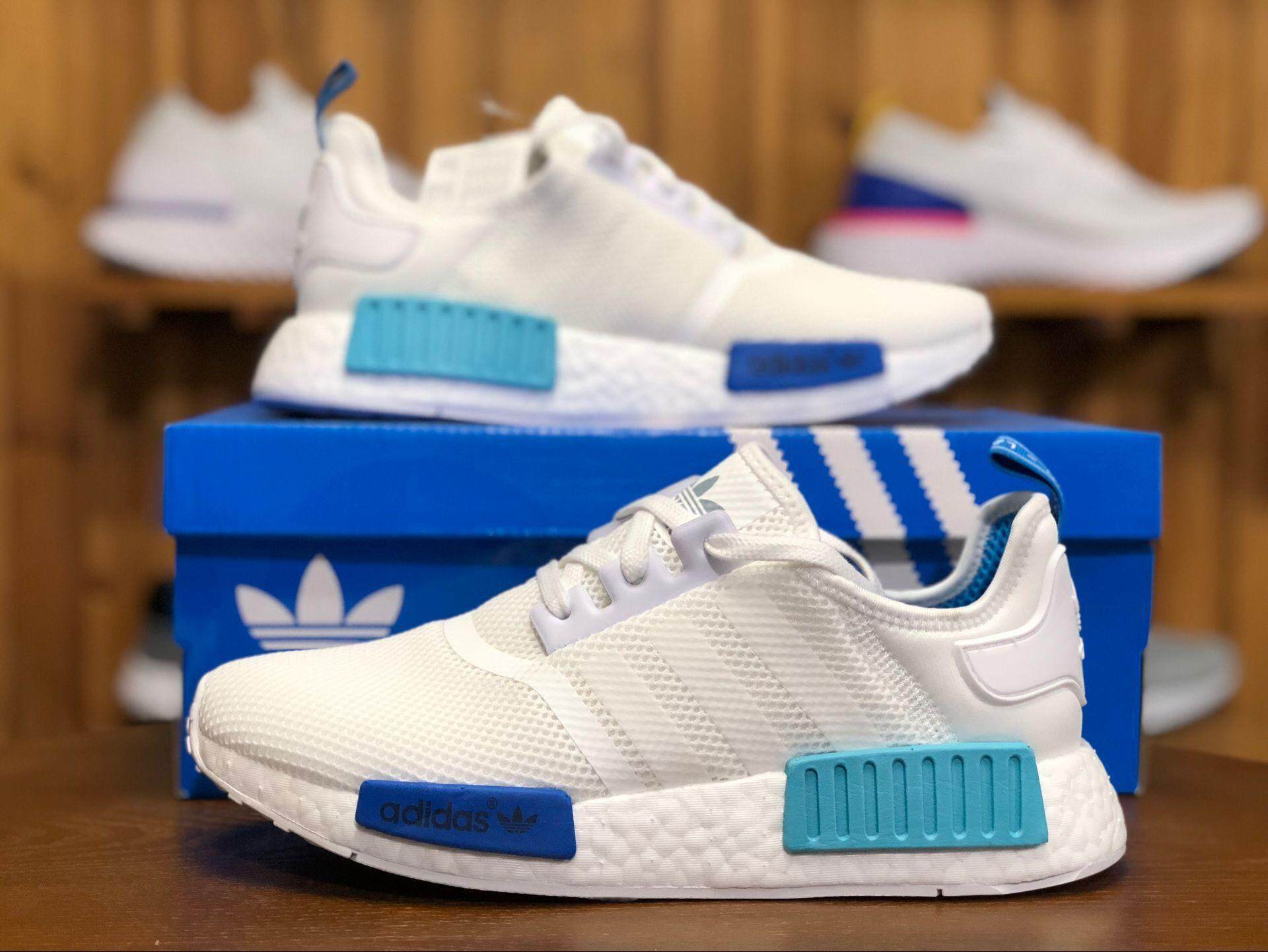 newest 11abe 3ebec Sale ADIDA 2018 NMD  R1 Runner Boost White Bright Cyan Blue S75235 Women  and Men Sneaker