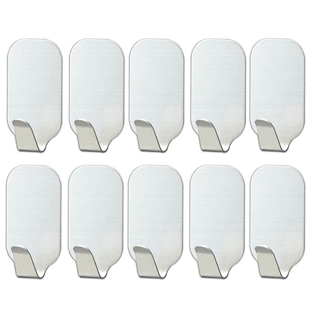 10 Pcs Dinding Tanpa Bor Gantungan Tahan Air Dapur Stainless Steel Diri Perekat By Wanmin56.