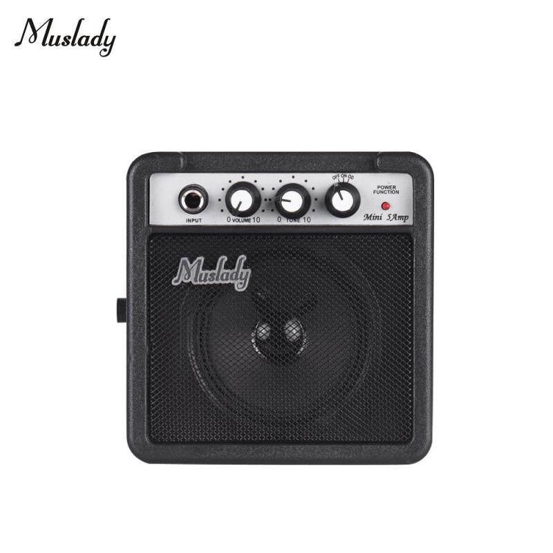 Muslady 5 W Đàn Guitar Mini Khuếch Đại Amp Loa Hỗ Trợ Tập Tông Điều Chỉnh Overdrive Đen