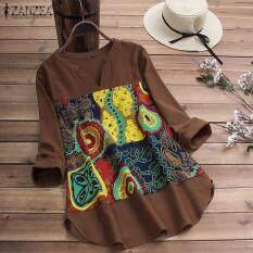 Áo nữ dáng dài cổ V vạt áo bất đối xứng phối màu họa tiết ZANZEA