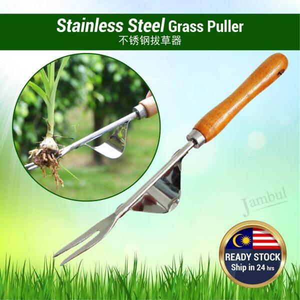 Stainless Steel Grass Puller Hand Garden Weed Plant Fork Digger Trimmer Prying Tool Alat Penarik Gali Akar Rumput 不锈钢拔草器