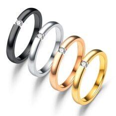BACหรูหราแฟชั่นชายและหญิงของเพชรแหวนแต่งงานไทเทเนียมเหล็กแหวนหมั้นBijouxเครื่องประดับ