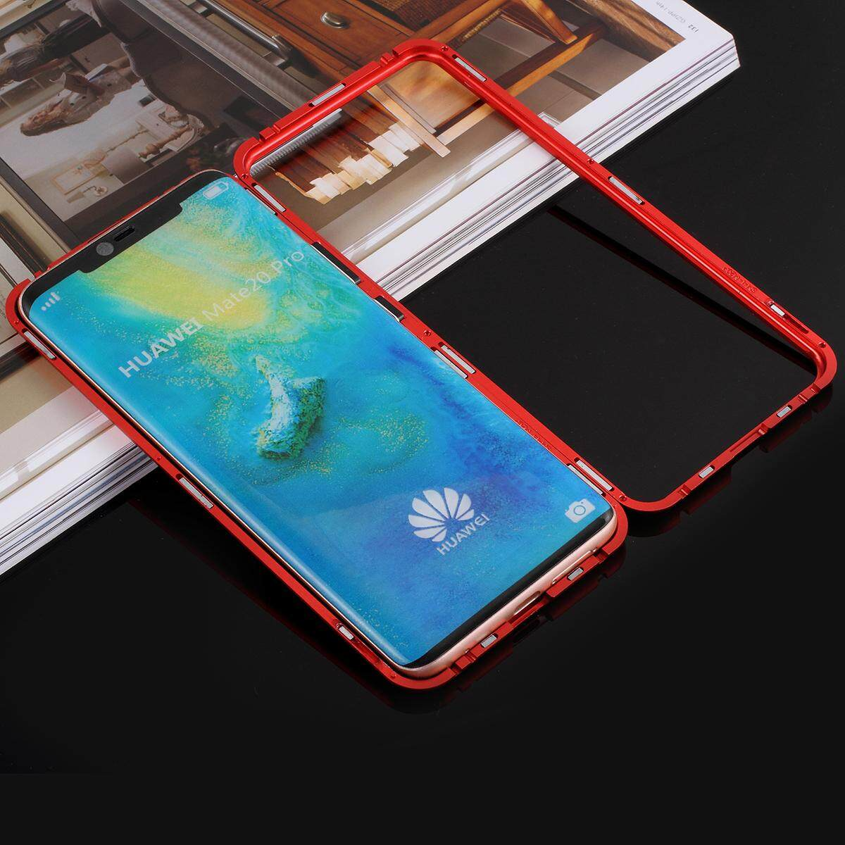 652930730 For Huawei Mate 20 Pro Detachable Magnetic Metal Frame + Tempered Glass  Back Case