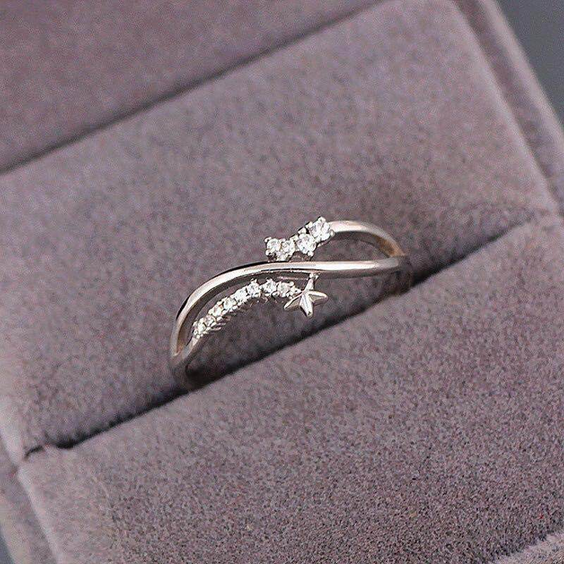 f43546995b2ce RisBty ❥ Women 925 Sterling Silver Color Star Diamond Ring Courtship  Proposal Rings