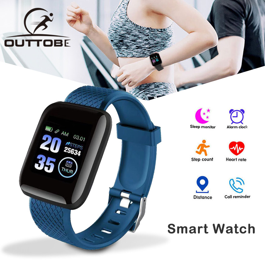 Outtobe Smart Watch 116 Smart Watches IP67 Waterproof Color Screen Smartwatch Fitness Tracker Rate Monitor Bracelet Smart Band Sport for Android IOS