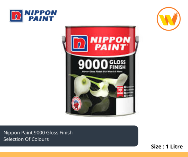 1Litre Nippon Paint 9000 Gloss Finish Selection Of Colours 1L Wood & Metal Paint