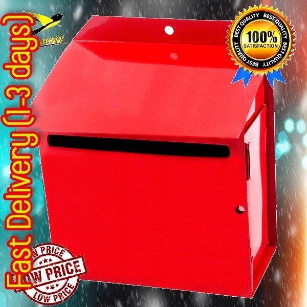 Metallogy Metal Red Post Letter Box/ Metal Mail Box/ Peti Surat Besi/ Mailbox/ Letterbox