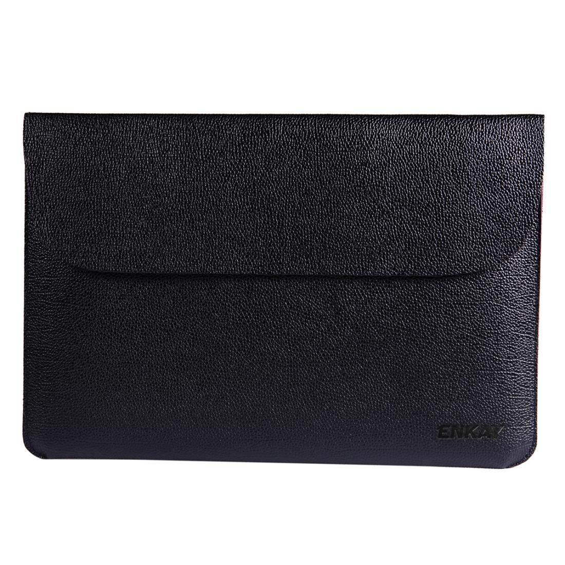 ENKAY Cross-section Ultra-light Ultra-thin PU Leather Liner Bag Computer Bag Protection Leather Case for MacBook Air 11 inch (Black)