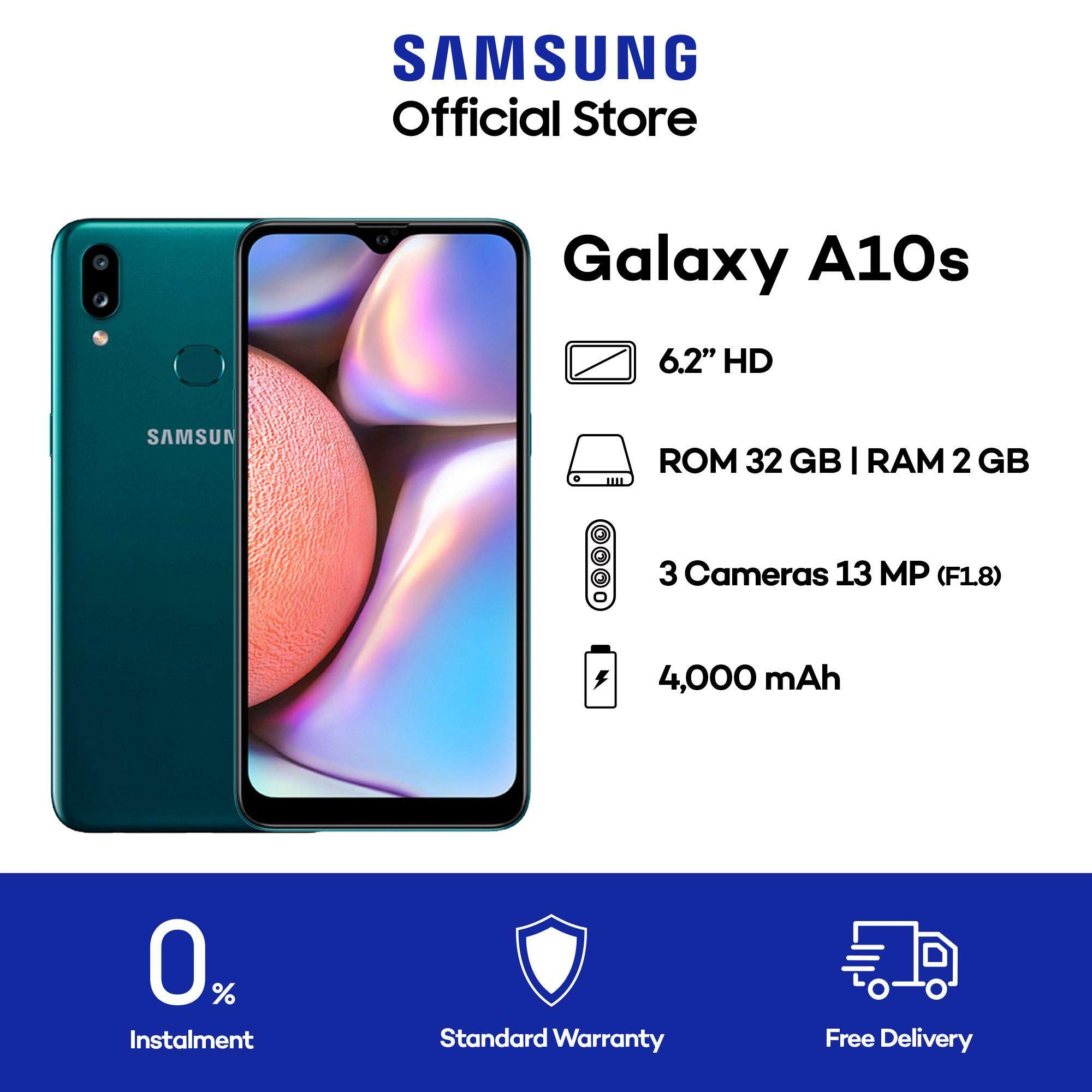 Samsung Galaxy A10s (A107) (Black/ Green/ Red) - 2GB RAM - 32GB ROM - 6.2 inch - Android Handphone