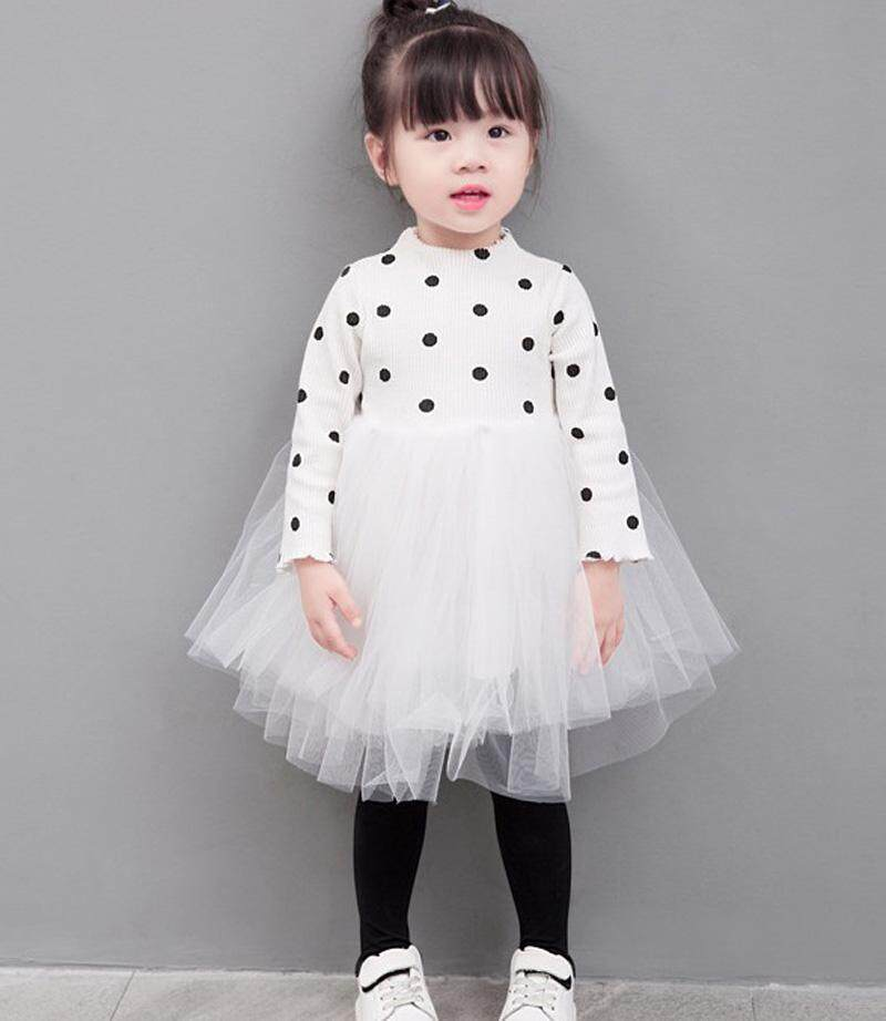 Toddler Kids Baby Girls Long Sleeve Tops Lace Princess Tutu Dress Party =Dress