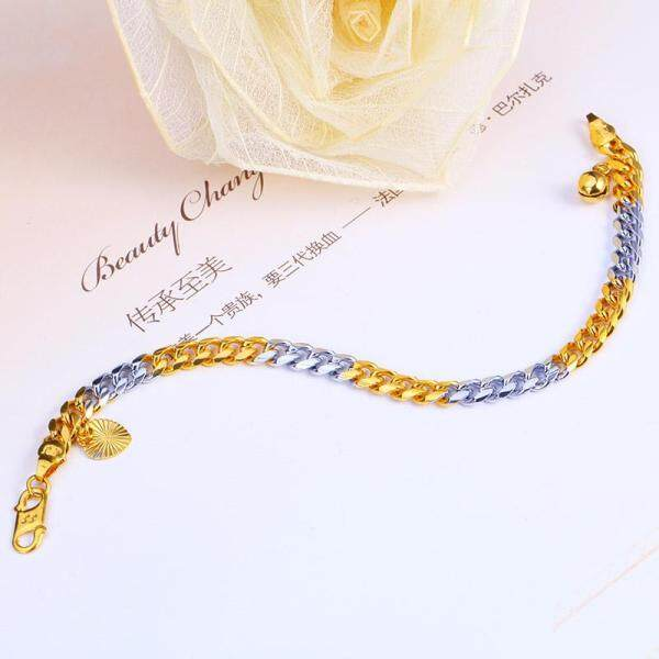 JINJU Rhodium Plated 24K Gold Filled Bracelets 6MM Fine Jewelry For Men And Women Link,Chain Top Quality New Fashion