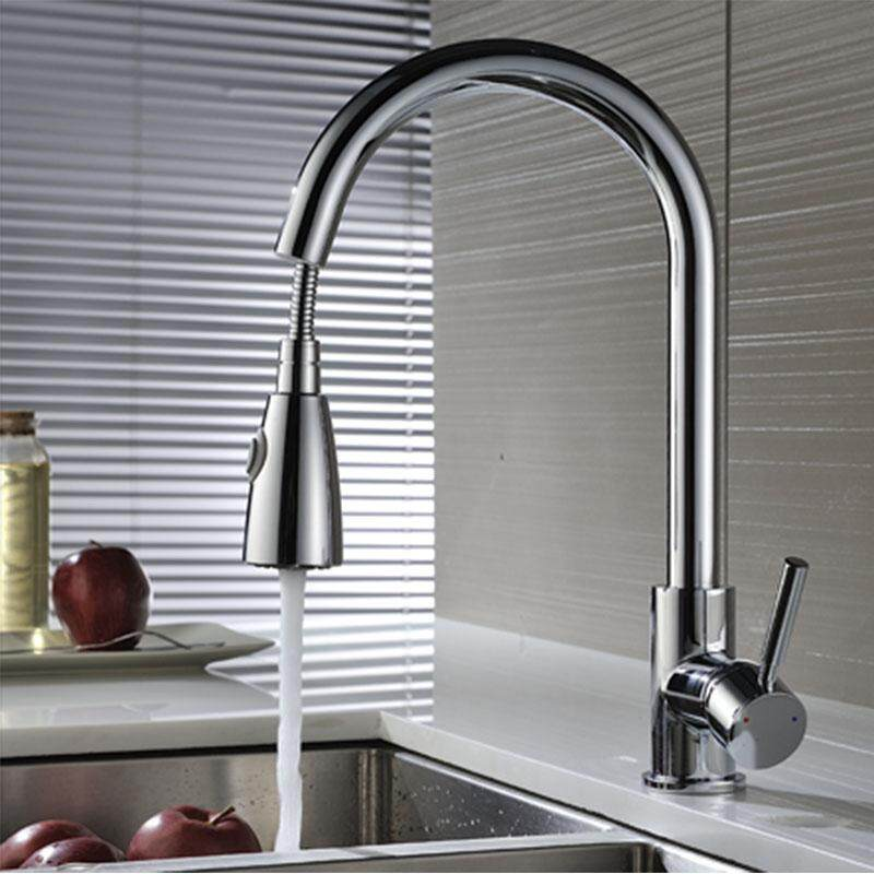 NETEL Commercial Single Handle High Arc Brushed Nickel Pull out Kitchen Faucet, Single Level Stainless Steel Kitchen Sink Faucets with Pull Down Sprayer