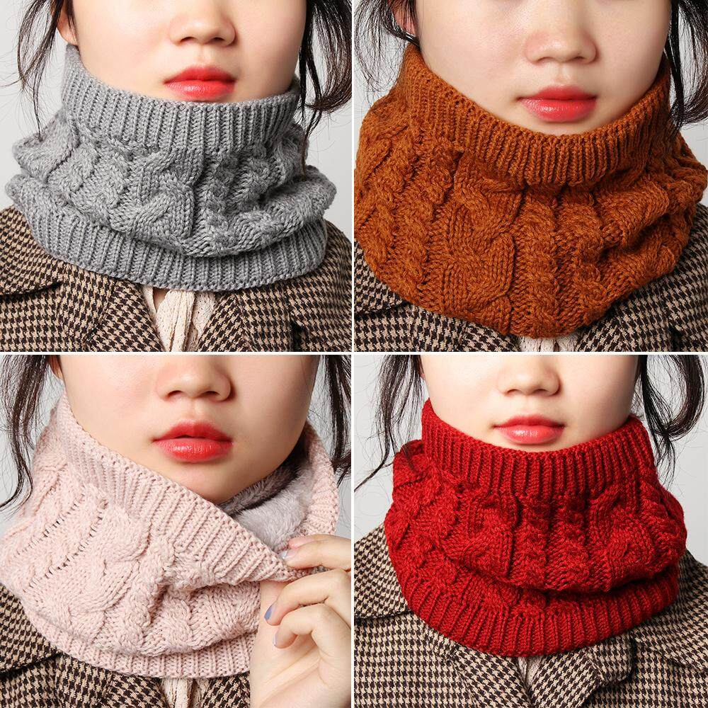 Winter Women Men Warm Infinity Cable Knitted Neck Cowl Collar Velvet Scarf Shawl
