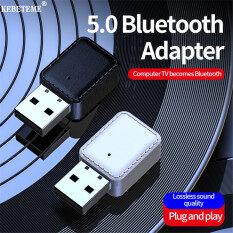 KEBETEME 2 Trong 1 USB Bluetooth 5.0 Receiver Máy Phát Âm Thanh Không Dây Stereo Âm Nhạc Adapter Dongle Cho PC Car Bluetooth Loa Tai Nghe