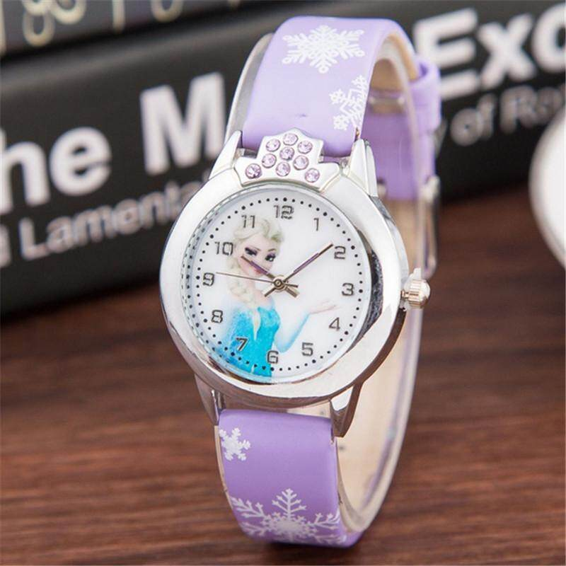 YB1154 Princess Elsa Pattern Children Watch Fashion Crystal Cartoon Leather Strap Quartz Wristwatch Casual Girls Kids Clock FWKI 01 Malaysia