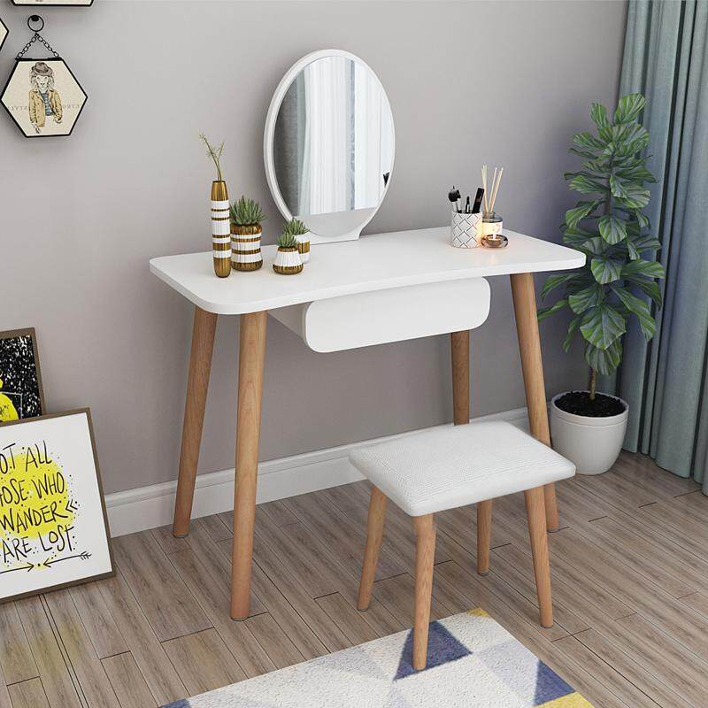 Vanity Set, Dressing Table with Oval Mirror and Stool, One Drawer, Wood Legs, Easy Assembly