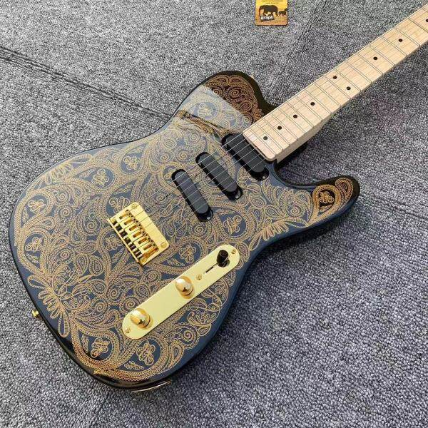 New TL Electric Guitar Golden decals ,Canada Top Brand Nut and Daddario strings,High-grade Accessories Musical instrument,Single Coil Pickups Malaysia