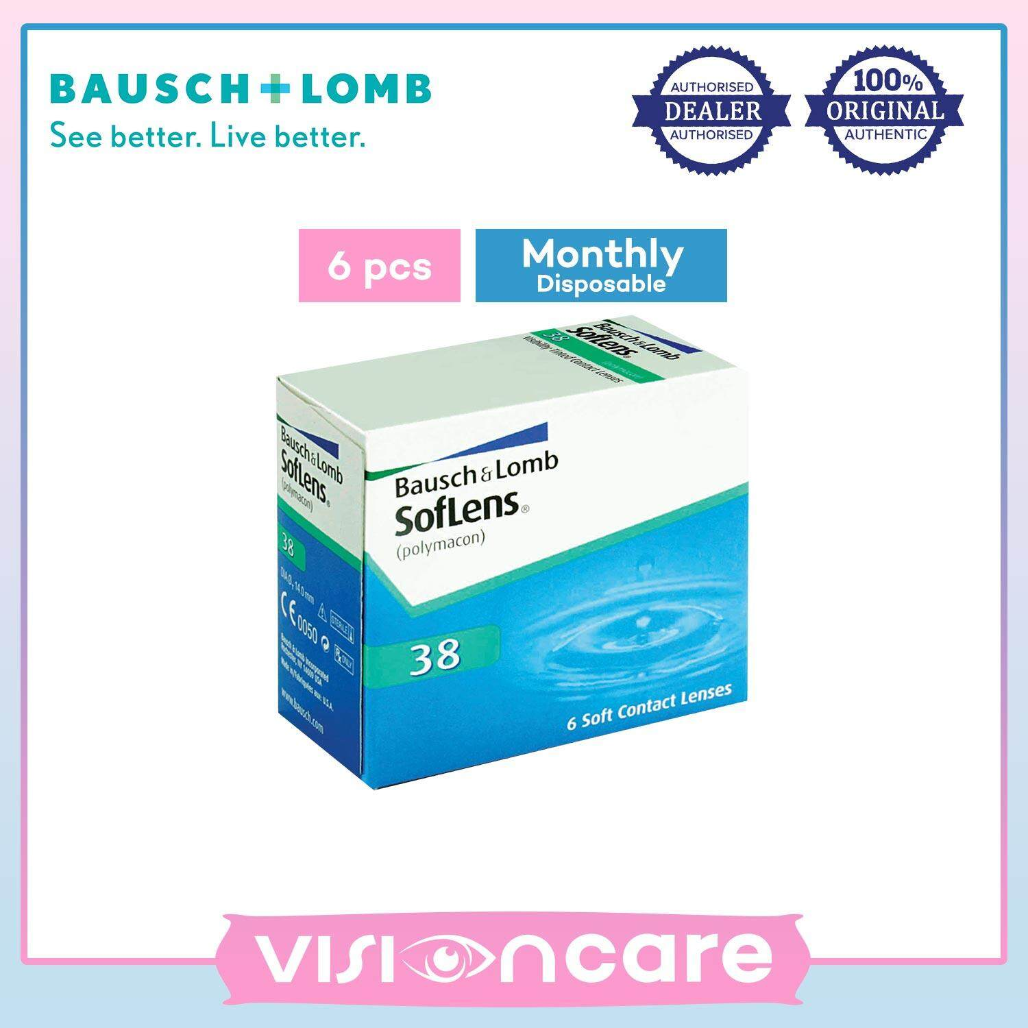 Bausch & Lomb SofLens 38 Monthly Clear Contact Lenses