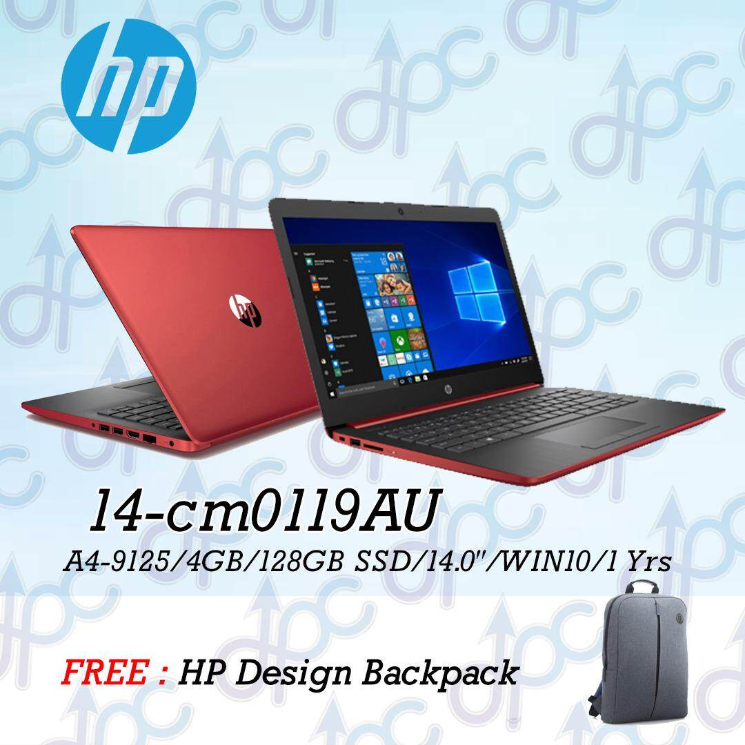 HP Notebook - 14-cm0119au (A4-9125/ 4GB/ 128GB SSD/ 14 / W10) LAPTOP - Free Backpack Malaysia