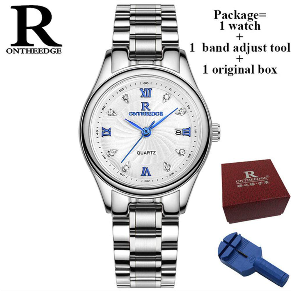RONTHEEDGE Fashion Quartz Watches For Women Casual Stainless Steel Strap Auto Date Calendar Lady Dress Crystal Diamond Life Water Resistant Ladies Wristwatches With Gift Box RZY013 Malaysia