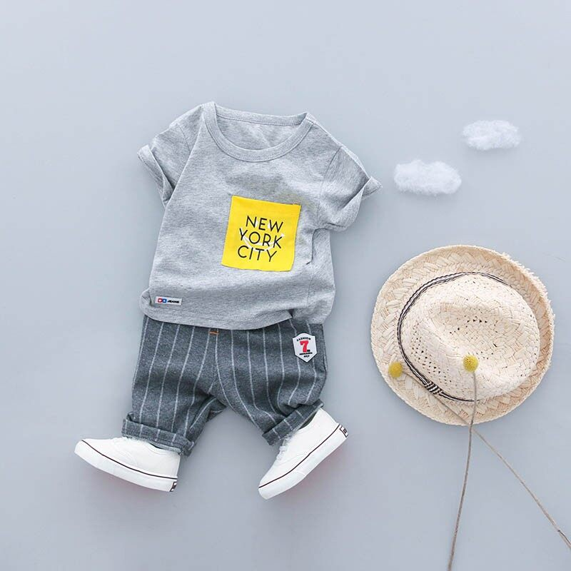 Toddler Baby Boys Clothes Casual Children Cotton Striped Kids Short Outfits Sets
