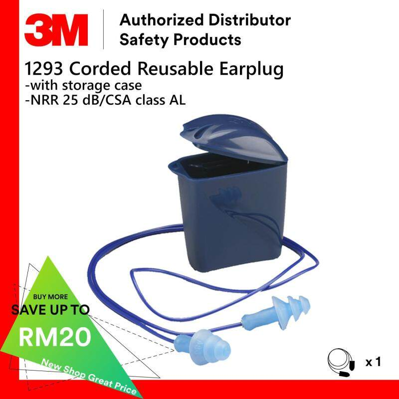 3M 1293 Corded Reusable Earplugs With Storage Case / NRR 25 dB [1 Pair]