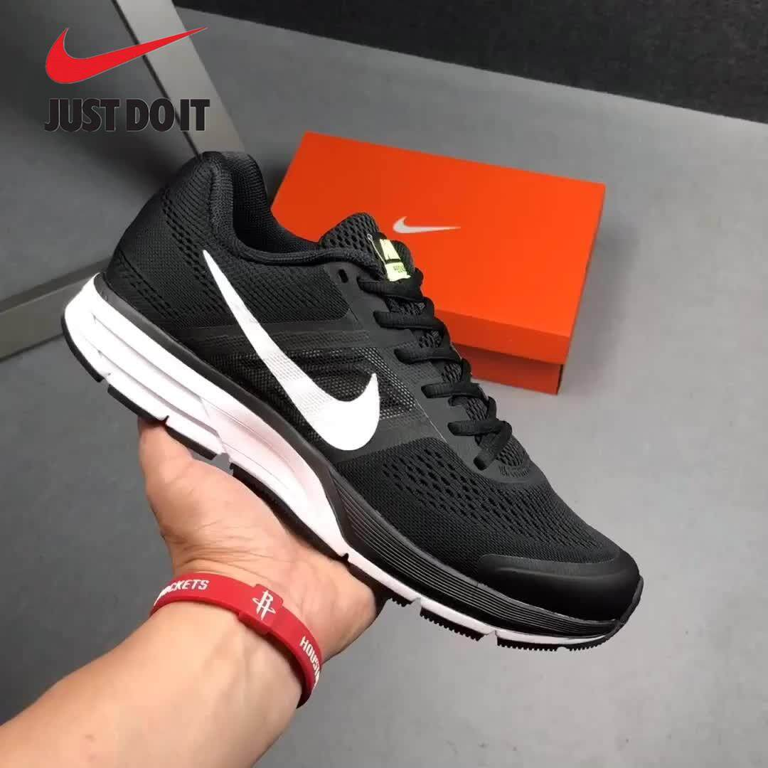 Nike black gold moon running shoes new head layer matte leather breathable mesh wear resistant shock absorber casual shoes fluorescent black and white