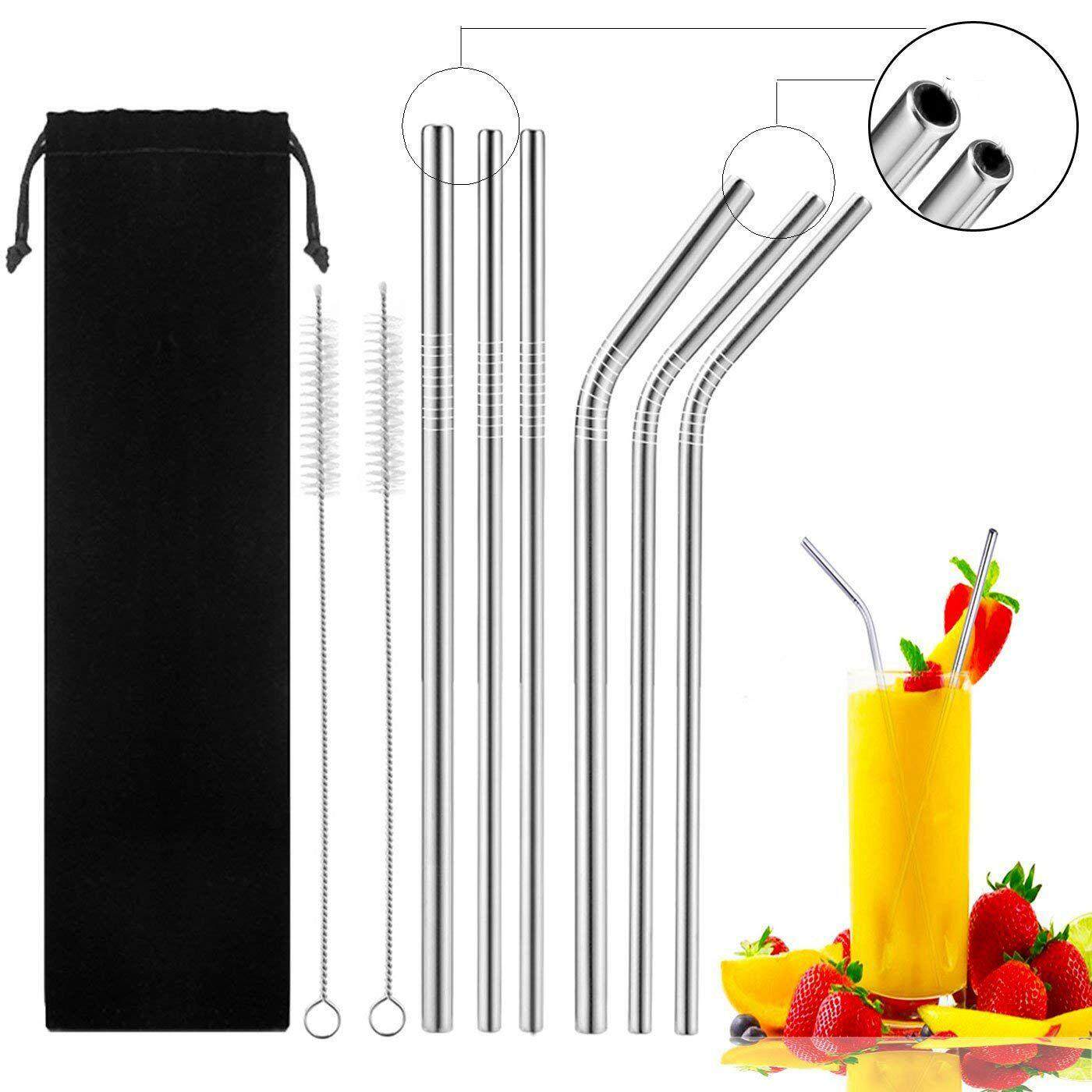 Stainless Steel Straws, 6 Pack Reusable Straws With 2 Pcs Cleaning Brushes, 8.5 Inch Reusable Drinking Straws (3 Straight + 3 Bent Smoothie Straws) By Ralleya.