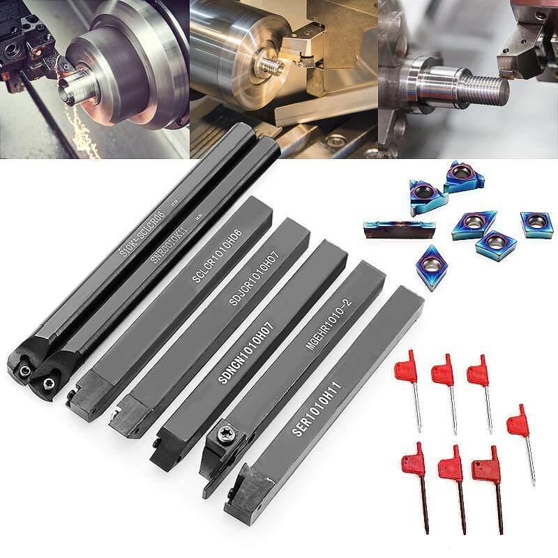 Drillpro 7Pcs 10mm Shank Lathe Turning Tool Holder Boring Bar With Blue Nano Carbide Inserts